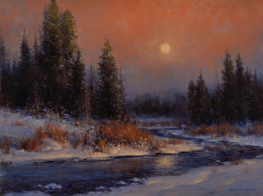 """A Winter's Moon"" 18x24 oil - Private Collection"