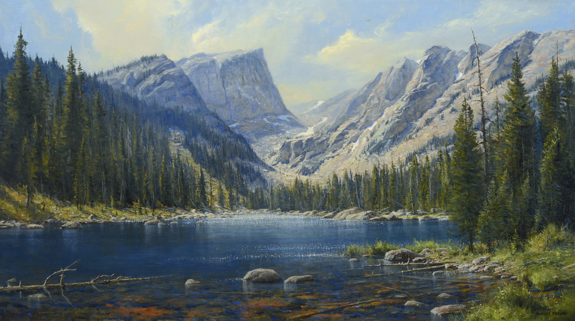 """Robert Peters """"Dream Lake"""" 28x50 oil on linen - private collection"""