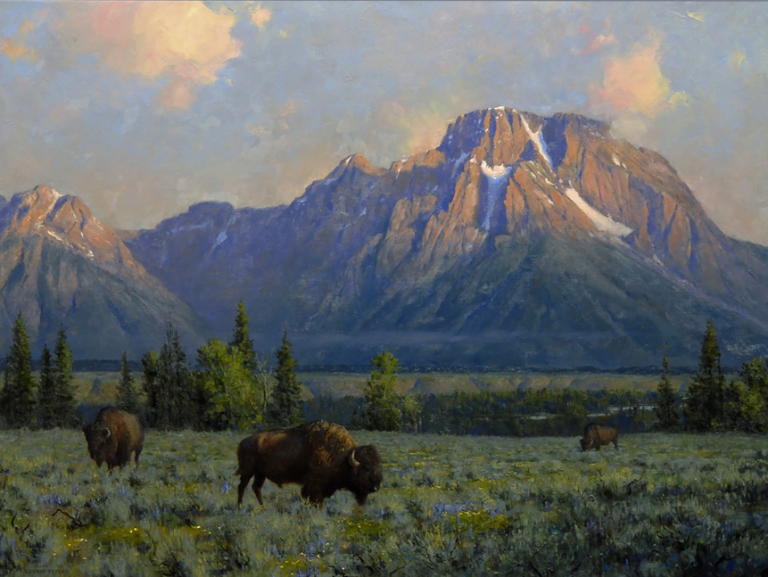 "Robert Peters ""Giants of the West"" 30x40 oil - Private Collection"