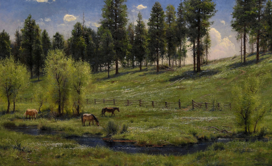 "Robert Peters ""Hillside in May"" 36x56 oil - Private Collection"