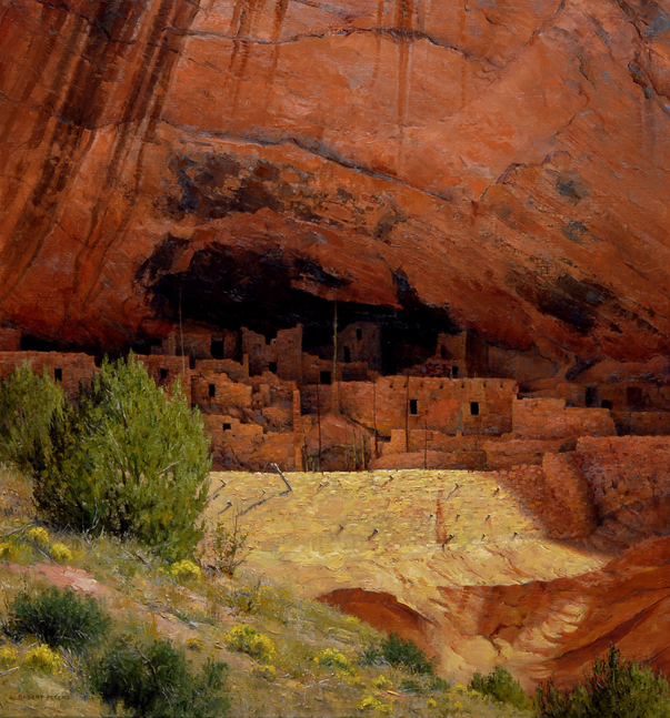 "Robert Peters ""Hisatsinom, People of Long Ago"" 30x28 oil - Private Collection"
