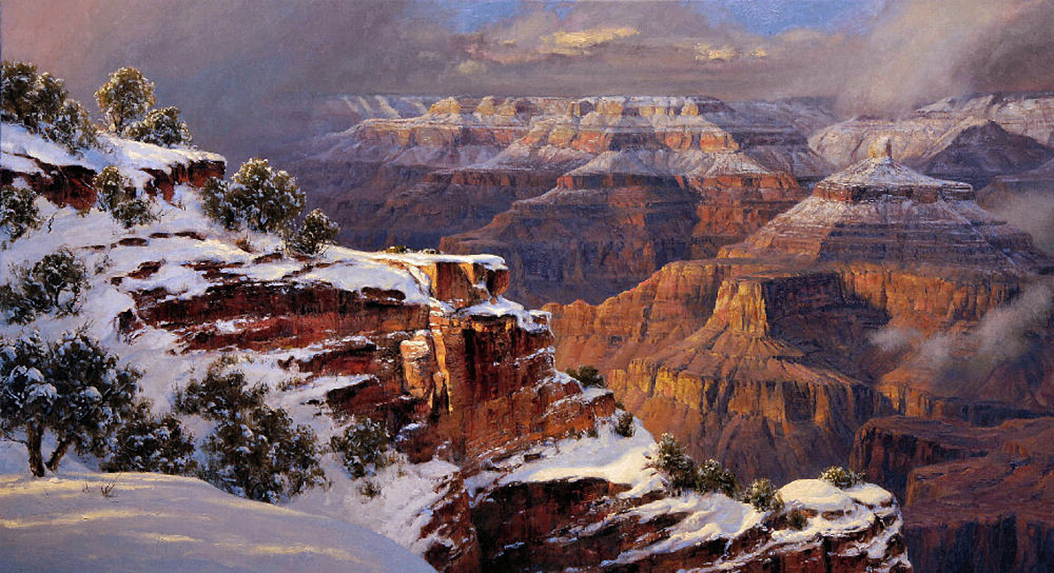 "Robert Peters ""February Storm, Grand Canyon"" 40x72 oil - Private Collection"