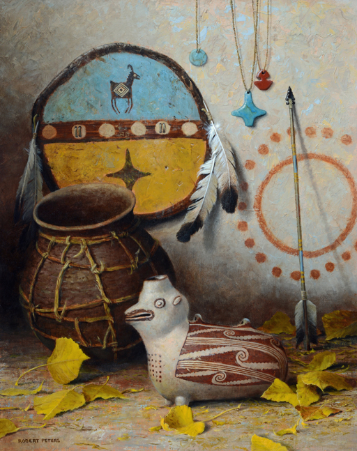 """Robert Peters """"Mimbres Pueblo Life"""" 20x16 oil - available at the Quest for the West"""