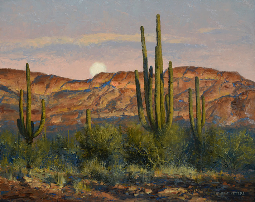 """Robert Peters """"Miners Canyon Moonrise 16x20 oil on linen - available at The Legacy Gallery"""
