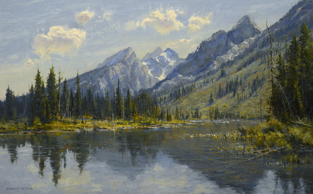 """Robert Peters """"String Lake Tranquility"""" 15x24 oil on linen- available at Astoria Fine Art"""