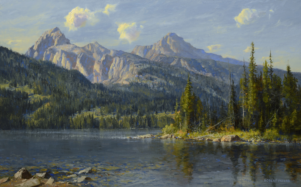 """Robert Peters """"Taggart Lake"""" 15x24 oil - Private Collection"""