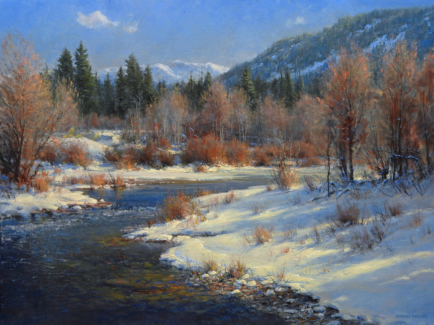 """Robert Peters """"Touch of Winter"""" 30x40 oil on linen - private-collection"""