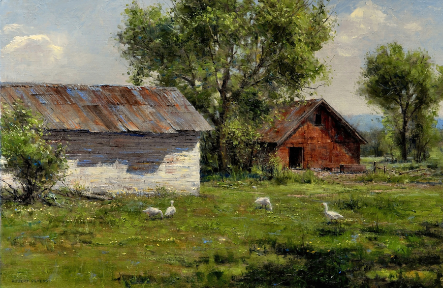 "Robert Peters ""Summer Geese"" 20x30 oil - Private Collection"
