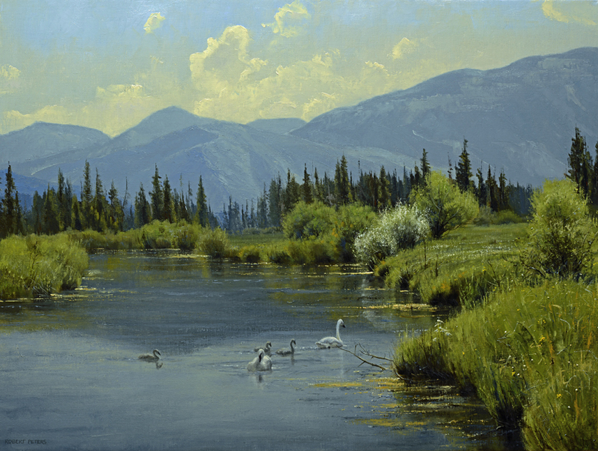 "Robert Peters ""Swan Valley Idyll"" 30 x40 oil - Private Collection"