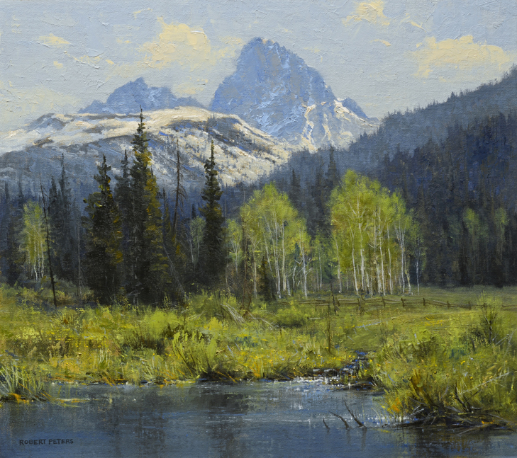 "Robert Peters ""Teton Valley Pond 16x18 oil on linen - private collection"
