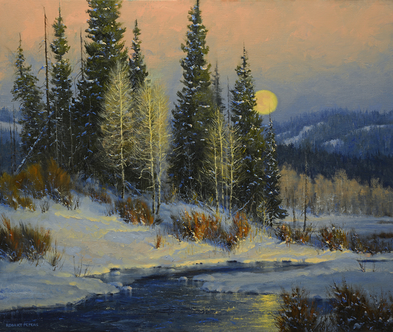"Robert Peters ""The Crow Moon"" 30x36 oil - Private Collection"