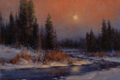 """""""A Winter's Moon"""" 18x24 oil - Private Collection"""