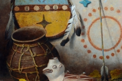 "Robert Peters ""Mimbres Pueblo Culture"" 20x16 oil - Private Collection"